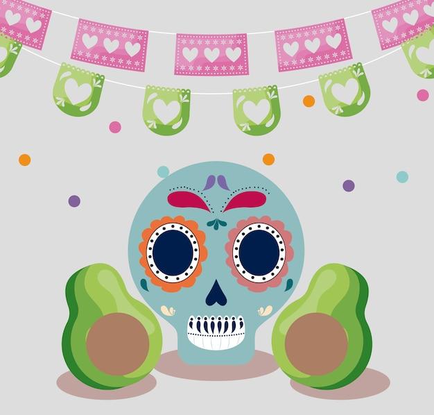 Celebração do viva méxico com caveira e abacates