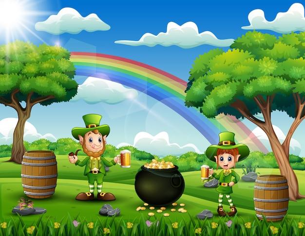 Celebração dos leprechauns do dia de patricks na natureza