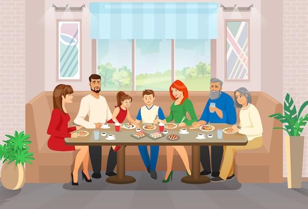 Celebração familiar feliz e momento de vida esparsa