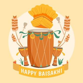 Celebração feliz baisakhi desenhados à mão