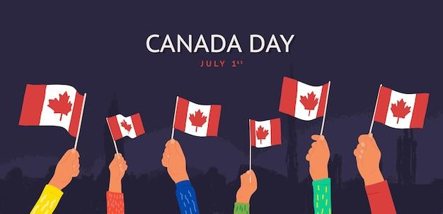Celebração feliz dia do canadá, julho - ilustração vetorial desenho animado mãos acenando bandeiras do canadá no escuro