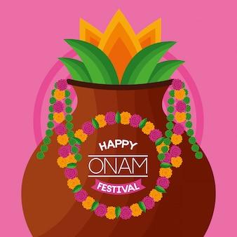 Celebração feliz do festival de onam