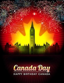 Celebração feliz dos fogos de artifício do dia do canadá no projeto da colina do parlamento