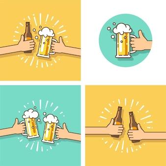 Celebração. festival da cerveja. duas mãos segurando a garrafa de cerveja e o copo de cerveja. ilustração em estilo simples.