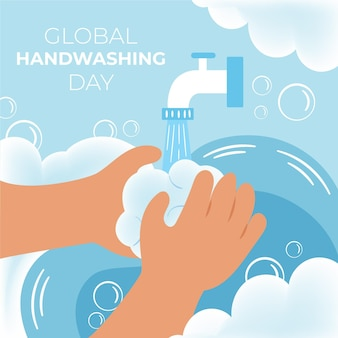Celebração global do evento do dia da lavagem das mãos