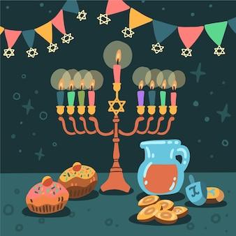 Celebração hanukkah desenhada à mão