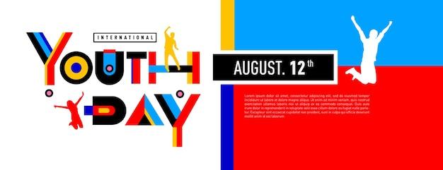Celebração internacional da bandeira do dia da juventude
