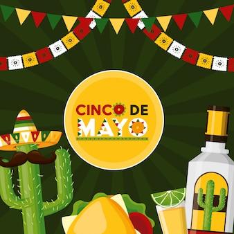 Celebração mexicana com tequila, comida, limão, cacto e outros ícones representativos do méxico