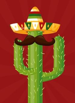 Celebração mexicana com um cacto com bigode e chapéu como um ícone da cultura mexicana