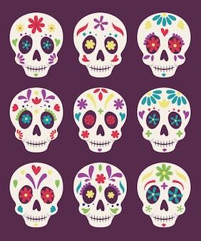 Celebração mexicana do dia da morte, caveiras decorativas