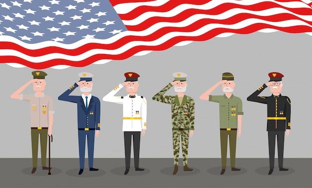 Celebração patriótica nacional do dia dos veteranos