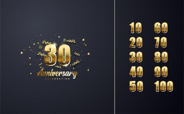 Celebração s de números elegante ouro colorido.
