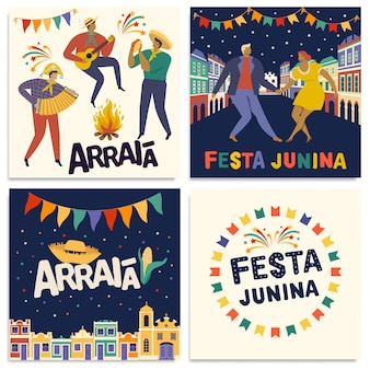 Celebração tradicional brasileira festa junina cartões