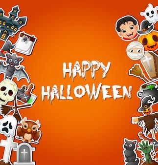 Celebrações de cartão de feliz dia das bruxas e adesivos de personagem