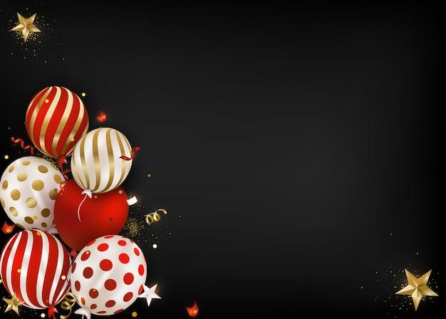 Celebrações de feliz aniversário cartão balões de ar, confetes caindo, brilhos, luzes.