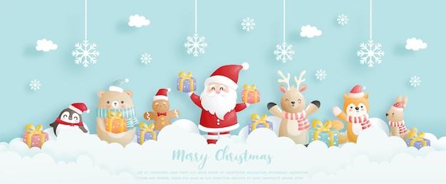 Celebrações de fundo de natal com papai noel e amigos, cena de natal em estilo de corte de papel