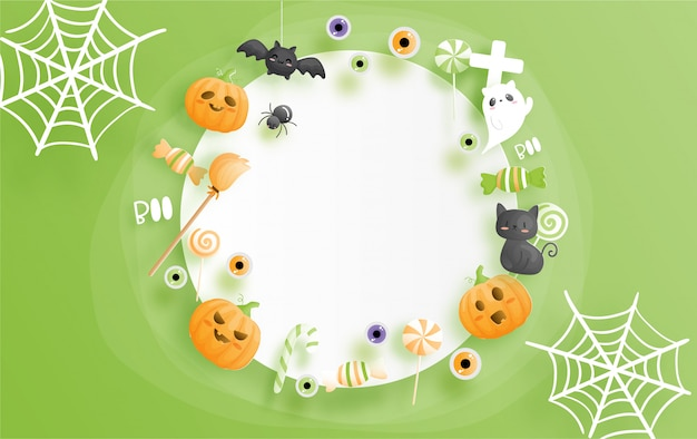 Celebrações de halloween em estilo de corte de papel.