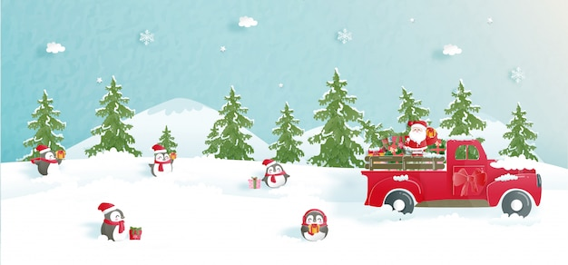 Celebrações de natal com carro bonito e papai noel para cartão de natal em papel cortado estilo.