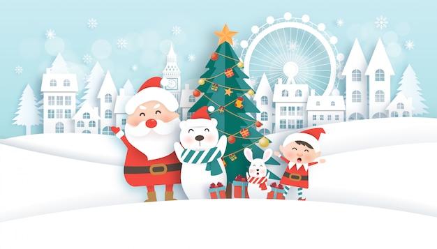 Celebrações de natal com papai noel e animais fofos na cidade de neve para cartão de natal