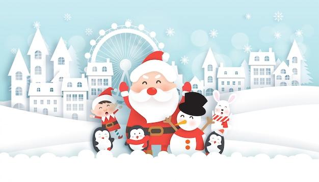 Celebrações de natal com papai noel e animais fofos na vila de neve para cartão de natal