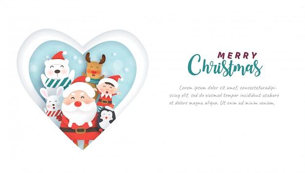 Celebrações de natal com papai noel e animais fofos para cartão de natal