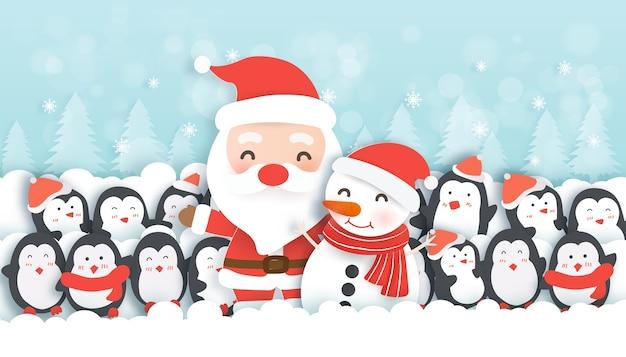 Celebrações de natal com papai noel e pinguins fofos na neve fores, fundo de natal em corte de papel e estilo artesanal.