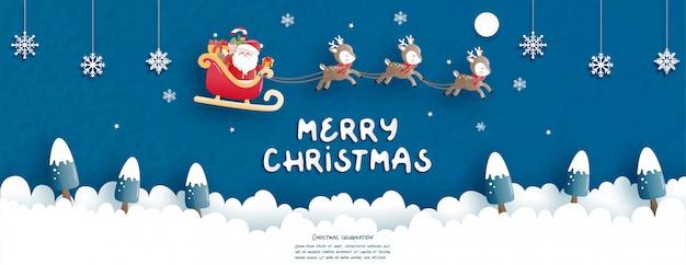Celebrações de natal com papai noel fofo e renas para cartão de natal em papel cortado estilo.