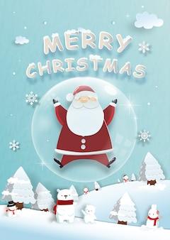Celebrações de natal com papai noel fofo e renas para cartão de natal no estilo de corte de papel
