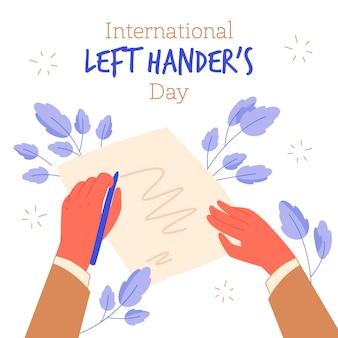 Celebrando e escrevendo com a mão esquerda