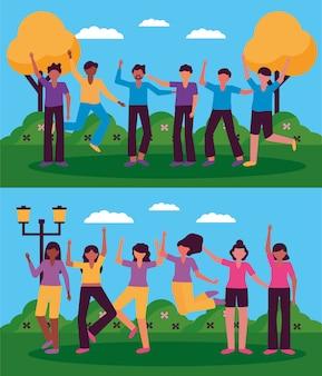 Celebrando o design dos jovens felizes