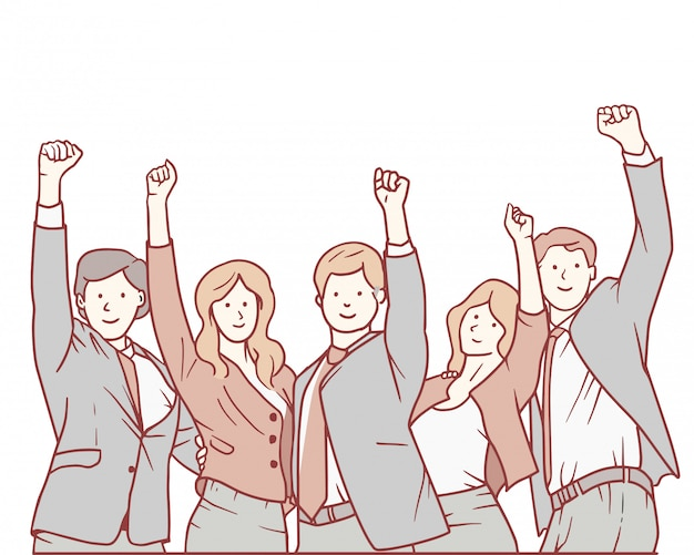 Celebrando um triunfo com os braços para cima.