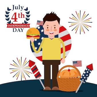 Celebrar o homem com hambúrguer