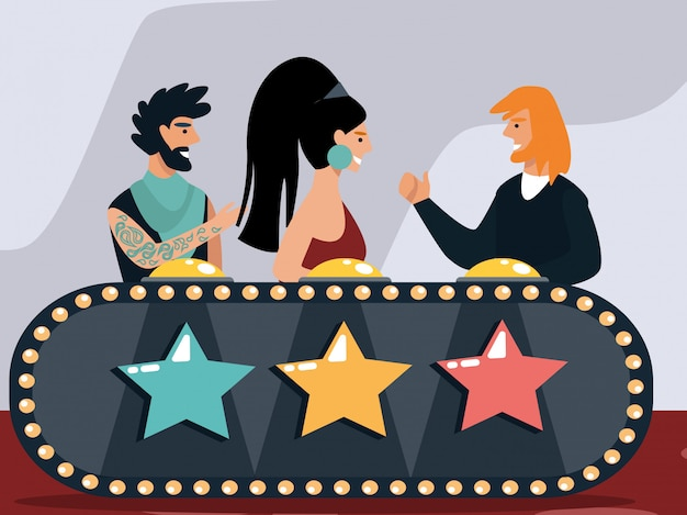 Celebridades julgando participantes no show de talentos