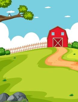 Celeiro e fazenda em um campo
