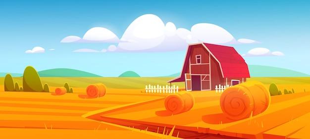 Celeiro em banner rural de natureza de fazenda com montes de feno no campo
