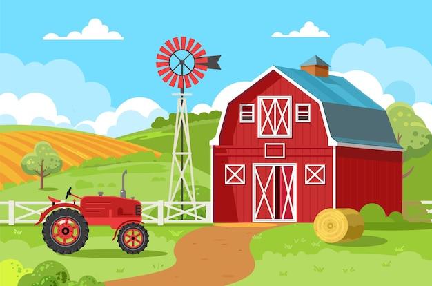 Celeiro vermelho com um trator e um fardo redondo de feno uma pequena fazenda familiar cercada por campos verdes e árvores conceitos de agricultura agronegócio agroturismo