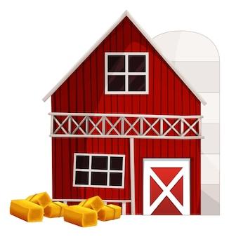 Celeiro vermelho e silo