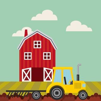 Celeiro vermelho sobre paisagem de fazenda