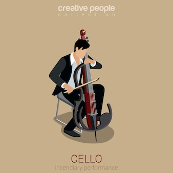 Cello performer flat 3d web isométrica infográfico conceito