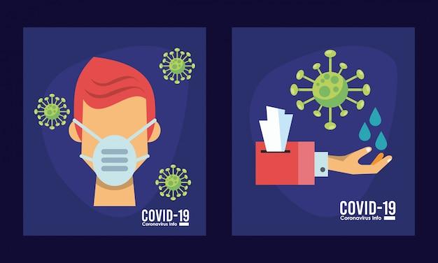 Célula de coronavírus com pessoa usando projeto de ilustração vetorial máscara médica