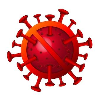 Célula de coronavírus e sinal de stop