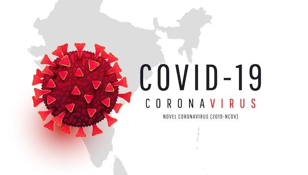Célula de coronavírus vermelha em um fundo de mapa do mundo índia. epidemia, pandemia, medicamento, vacina de vírus.