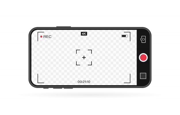 Celular com câmera de quadro de registro. modelo do visor. 4k telefone resolução vídeo rec quadro. tela de gravação de vídeo.