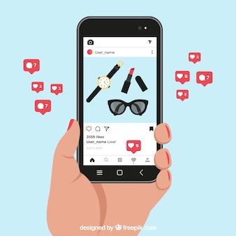 Celular com modelo de post do instagram e notificações