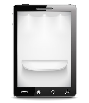 Celular com prateleira cinza na tela, ilustração