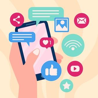 Celular de marketing com aplicativos e mão