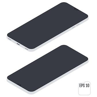 Celular. isométrico plano. dispositivo móvel. smartphone branco. visor touchscreen. tecnologias modernas de comunicação e gestão.