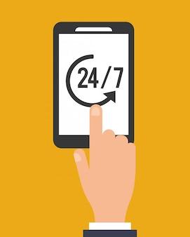 Celular moderno com imagem de ícone de serviço 24/7