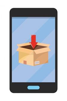 Celular, mostrando, caixa, ilustração