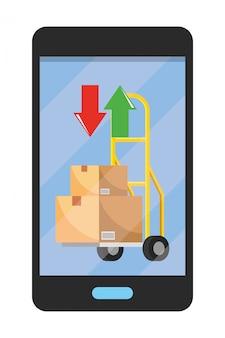 Celular, mostrando, pushcart, ilustração
